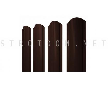 Штакетник круглый фигурный односторонний 1,8м. 0,4мм. RAL 8017 шоколад Полиэстер Россия