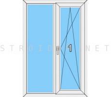 Окно двустворчатое Veka WHS однокамерный стеклопакет поворотно-откидное Белый 1200мм. x 1200мм.