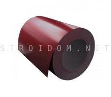 Рулон с полимерным покрытием 0,45мм. x 1250мм. RAL 3003 рубиново-красный