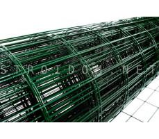 Сетка для забора сварная ПВХ зеленая Лепсе-Люкс 1,5м. x 20м. с декоративным изгибом ячейки 55мм. x 100мм.