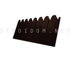 Профнастил C10В Фигурный 0,5мм. RAL 8017 шоколадно коричневый Satin с пленкой Гранд Лайн Grand Line