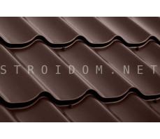 Металлочерепица Супермонтеррей 0,5мм. CORUNDUM50 Полиэстер RAL 8017 шоколадно-коричневый Стинержи