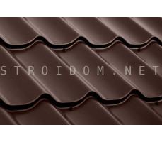 Металлочерепица Классик полиэстер 0,45мм. 2.25 м х 1.18 м RAL 8017 шоколадно-коричневый Россия