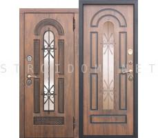 Входная дверь  со стеклопакетом и ковкой Vikont ГРЕЦКИЙ ОРЕХ