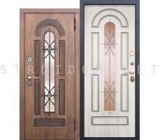 Входная дверь  со стеклопакетом и ковкой Vikont СОСНА БЕЛАЯ