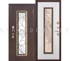 Входная дверь  со стеклопакетом ПЛЮЩ БЕЛЫЙ ЯСЕНЬ