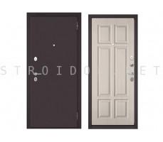 Входная дверь Бульдорс MASS 70 Букле шоколад/ПВХ Ларче бьянко, М-109