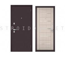 Входная дверь Бульдорс MASS 70 Букле шоколад/ПВХ Ларче бьянко, М-143
